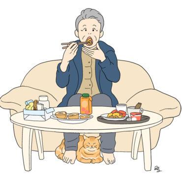 おばあちゃん食卓イラスト